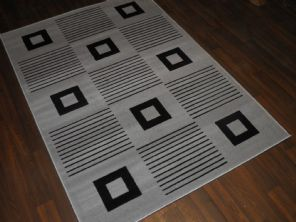 Modern Approx 6x4ft 120x170cm Woven Backed Grey-Black Quality Rug Square Design
